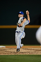 Dunedin Blue Jays relief pitcher Nick Hartman (14) delivers a pitch during a game against the Bradenton Marauders on May 2, 2018 at LECOM Park in Bradenton, Florida.  Bradenton defeated Dunedin 6-3.  (Mike Janes/Four Seam Images)