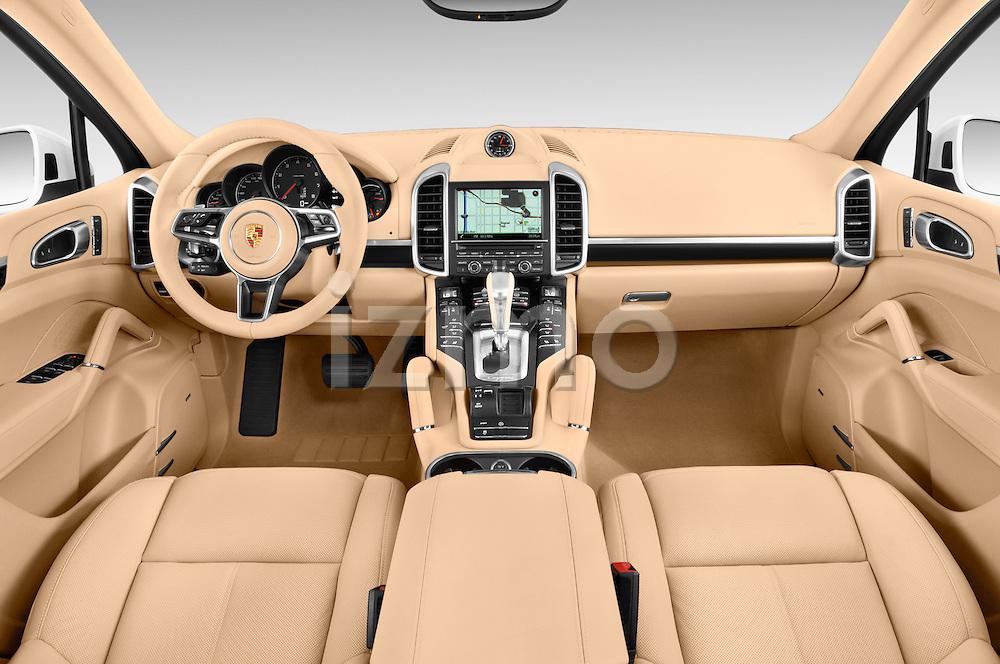 Stock photo of straight dashboard view of a 2016 Porsche Cayenne Diesel 5 Door SUV Dashboard