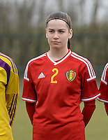 20150226 - Tubize , Belgium : Belgian Sieglinde Brys pictured during the friendly female soccer match between Women under 17 teams of  Belgium and Scotland  . Thursday 26th February 2015 . PHOTO DAVID CATRY