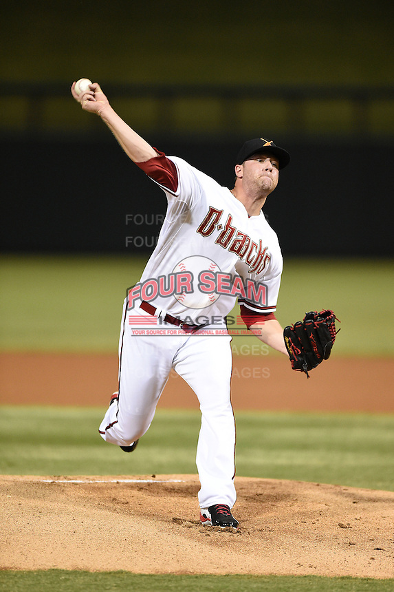 Salt River Rafters pitcher Archie Bradley (25) during an Arizona Fall League game against the Scottsdale Scorpions on October 7, 2014 at Salt River Fields at Talking Stick in Scottsdale, Arizona.  Scottsdale defeated Salt River 7-4.  (Mike Janes/Four Seam Images)