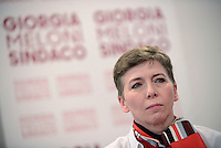 Roma 6 Maggio 2016<br /> Irene Pivetti<br /> Presentazione delle liste a sostegno di Giorgia Meloni a Sindaca di Roma<br /> ROME, ITALY - May 06: <br /> Presentation of the lists in support of Giorgia Meloni to mayor of Rome at the headquarters of the electoral campaign.<br /> on May 6, 2016 in Rome, Italy.