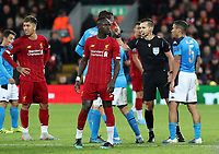 27th November 2019; Anfield, Liverpool, Merseyside, England; UEFA Champions League Football, Liverpool versus SSC Napoli ; referee Carlos Del Cerro Grande makes his point to Fabian of SSC Napoli - Editorial Use