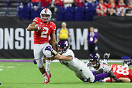 Indianapolis, IN - December 1, 2018: Ohio State Buckeyes running back J.K. Dobbins (2) breaks a tackle during the Big Ten championship game between Northwestern  and Ohio State at Lucas Oil Stadium in Indianapolis, IN.   (Photo by Elliott Brown/Media Images International)