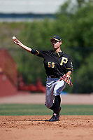 Pittsburgh Pirates shortstop Ji-Hwan Bae (56) warmup throw to first base during a Minor League Spring Training game against the Philadelphia Phillies on March 23, 2018 at the Carpenter Complex in Clearwater, Florida.  (Mike Janes/Four Seam Images)