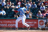 Herlis Rodriguez (6) of the Lehigh Valley Iron Pigs follows through on his swing against the Durham Bulls at Coca-Cola Park on July 30, 2017 in Allentown, Pennsylvania.  The Bulls defeated the IronPigs 8-2.  (Brian Westerholt/Four Seam Images)