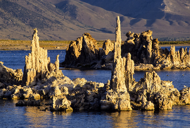 Alkaline jagged formations in Mono Lake at sunrise Alkaline jagged stone formations in arcenic water