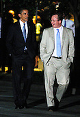 "Washington, DC - July 31, 2009 -- United States President Barack Obama walks back to the White House with Press Secretary Robert Gibbs after a meeting with cabinet members at the Blair House, Friday,  July 31, 2009 in Washington, DC. Obama held a cabinet retreat with cabinet members to ""talk about the agendas both past and forward,"" according to White House Press Secretary Robert Gibbs. .Credit: Alex Wong - Pool via CNP"