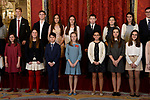 Princess Leonor of Spain (c) greets children and winners of Que Es un Rey Para Ti competition, after they received one of Spain's highest honours, the Order of Golden Fleece (Toison de Oro), from King Felipe VI of Spain at the Royal Palace. January 30,2018. (ALTERPHOTOS/Pool)
