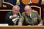 King Juan Carlos I of Spain (r) and the Defence Minister Pedro Morenés during the close of the XIII year of staff of the Armed Forces at the Center for Advanced Studies of National Defense (CESEDEN).(Alterphotos/Ricky)