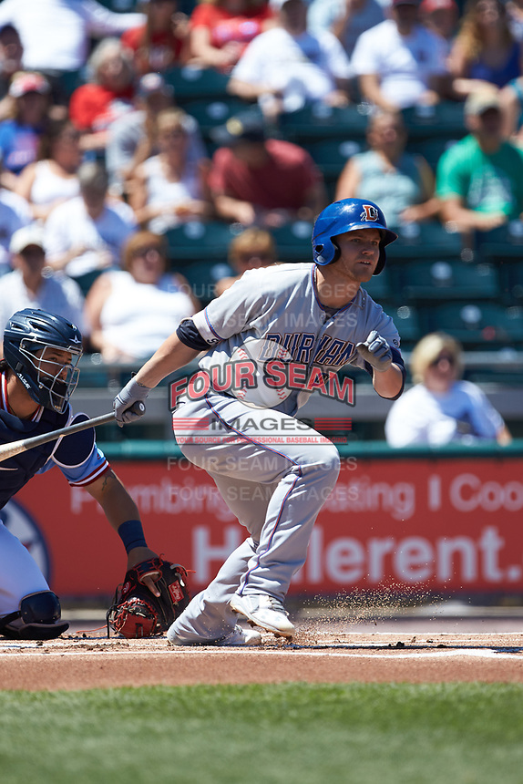Jake Bauers (11) of the Durham Bulls follows through on his swing against the Lehigh Valley Iron Pigs at Coca-Cola Park on July 30, 2017 in Allentown, Pennsylvania.  The Bulls defeated the IronPigs 8-2.  (Brian Westerholt/Four Seam Images)