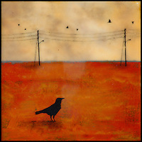 Mixed media encaustic photography of crow in field with telephone poles.
