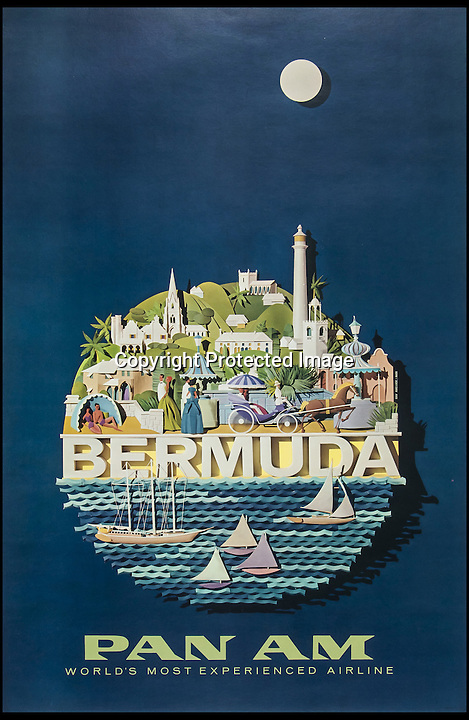 BNPS.co.uk (01202 558833)<br /> Pic: Bloomsbury/BNPS<br /> <br /> ***Please Use Full Byline***<br /> <br /> A travel poster for Pan Am flights from London to Bermuda, expected to sell for £2000 - £3000. <br /> <br /> Scarce vintage travel posters that hark back to the halcyon days of travel across the globe in the 1930s are tipped to sell for £50,000.<br /> <br /> The fine collection of over 100 works of art were used to advertise dream holiday destinations in far-flung places and the luxurious ways of reaching them.<br /> <br /> Most of the advertising posters date back to the 1920s and 1930s and are Art Deco in style.<br /> <br /> They are a celebration of the various modes of transport used by wealthy tourists in the days before air travel and package holidays.<br /> <br /> They are being sold at London auctioneers Bloomsbury next week.