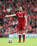 Liverpool's Jordan Henderson in action during the premier league match at the Anfield Stadium, Liverpool. Picture date 19th August 2017. Picture credit should read: David Klein/Sportimage