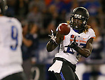 Boise State's Jay Ajayi (27) makes a reception from quarterback Grant Hedrick (9) during the first half of an NCAA college football game against Nevada, in Reno, Nev., on Saturday, Oct. 4, 2014. Boise State won 51-46. (AP Photo/Cathleen Allison)