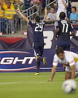 New England Revolution midfielder Marko Perovic (29) celebrates his goal. The New England Revolution defeated Monarcas Morelia in SuperLiga 2010 group stage match, 1-0, at Gillette Stadium on July 20, 2010.