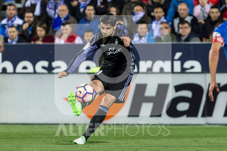 Alvaro Morata of Real Madrid during the match of  La Liga between Club Deportivo Leganes and Real Madrid at Butarque Stadium  in Leganes, Spain. April 05, 2017. (ALTERPHOTOS / Rodrigo Jimenez)