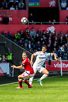 Sunday April 02 2017 <br /> Pictured: Stewart Downing of Middlesbrough and Kyle Naughton of Swansea City in action <br /> Re: Premier League match between Swansea City and Middlesbrough at The Liberty Stadium, Swansea, Wales, UK. SUnday 02 April 2017