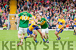 Darran O'Sullivan Kerry in action against Martin McMahon and Dean Ryan  Clare in the Munster Senior Football Championship at Fitzgerald Stadium in Killarney on Sunday.