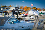 Fall foliage colors a marina in Essex, CT