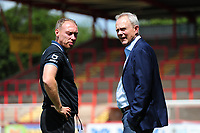 Steve Cooper Head Coach of Swansea City speaks with Trevor Birch, Chairman of Swansea City during the pre season friendly match between Exeter City and Swansea City at St James Park in Exeter, England, UK. Saturday, 20 July 2019