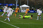 KANSAS CITY, MO - DECEMBER 03:   Goalie Pablo Jara (1) of Wingate University makes a save against the University of Charleston during the Division II Men's Soccer Championship held at Children's Mercy Victory Field at Swope Soccer Village on December 03, 2016 in Kansas City, Missouri. Wingate beat Charleston 2-0 to win the National Championship. (Photo by Jack Dempsey/NCAA Photos via Getty Images)