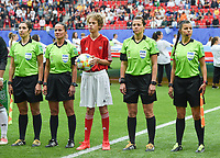 20190612 - VALENCIENNES , FRANCE : referee Kateryna Monzul with her assistants Maryna Striletska and Oleksandra Ardasheva an 4th referee Sandra Braz pictured during the female soccer game between Germany  and Spain  , the second game for both teams in group B during the FIFA Women's  World Championship in France 2019, Wednesday 12 th June 2019 at the Stade du Hainaut Stadium in Valenciennes , France .  PHOTO SPORTPIX.BE | DIRK VUYLSTEKE