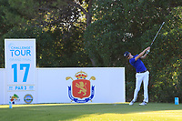 Daan Huizing (NED) on the 17th tee during Round 3 of the Challenge Tour Grand Final 2019 at Club de Golf Alcanada, Port d'Alcúdia, Mallorca, Spain on Saturday 9th November 2019.<br /> Picture:  Thos Caffrey / Golffile<br /> <br /> All photo usage must carry mandatory copyright credit (© Golffile | Thos Caffrey)