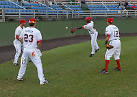 Members of the Potomac Nationals play a game of pepper prior to a game against the Salem Red Sox on June 16, 2011, at Pfitzner Stadium in Woodbridge, Va. Photo by Tom Priddy / Four Seam Images
