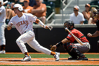 Second baseman Jordan Etier #7 of the Texas Longhorns follows through against Texas Tech on April 17, 2011 at UFCU Disch-Falk Field in Austin, Texas. (Photo by Andrew Woolley / Four Seam Images)