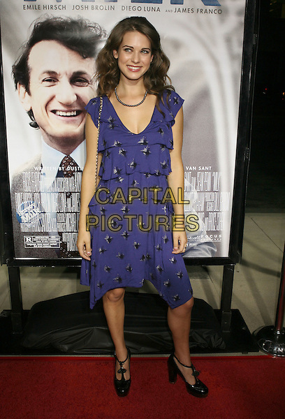 "LYNDSY FONSECA.""MILK"" Los Angeles Premiere held at the Academy of Motion Picture Arts and Sciences, Beverly Hills, California.November 13th, 2008.full length lindsay purple pattern dress t-bar shoes black.CAP/ADM/MJ.©Michael Jade/AdMedia/Capital Pictures."