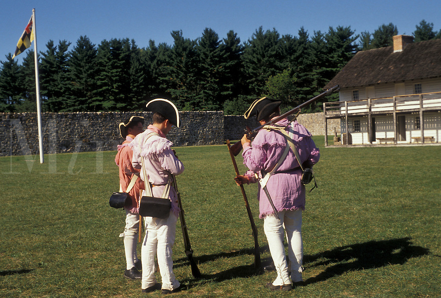 AJ2952, reenactment, fort, Fort Frederick, Maryland, 1776 Frontier Fort, Men in Continental Army authentic clothing at the reenactment of the American Revolution at Fort Frederick State Park in Big Pool in the state of Maryland.