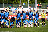 Kansas City, MO - Saturday May 13, 2017: Shea Groom, Nicole Barnhart, Becky Sauerbrunn, Becca Moros, during a regular season National Women's Soccer League (NWSL) match between FC Kansas City and the Portland Thorns FC at Children's Mercy Victory Field.