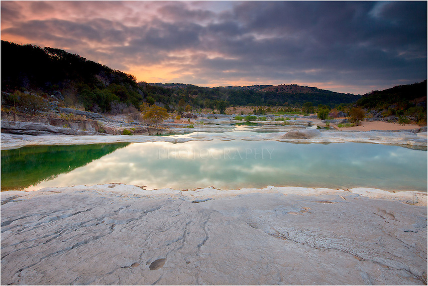 This Texas Landscape image comes from the Hill Country's Pedernales Falls State Park. When the light hits the still, clean water, it seems to glow in an emerald green, making for some nice photo opportunities.