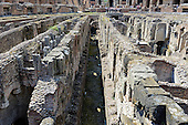 The hypogeum, an underground network of tunnels and cages containing the holding cells for gladiators or animals, which was located under the wood floor which was covered by sand, of the Colosseum, also known as the Flavian Amphitheatre, in Rome, Italy on Friday, May 25, 2012.  It was connected to points outside the Colosseum by a another series of underground tunnels..Credit: Ron Sachs / CNP