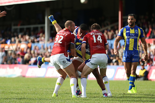 July 1st 2017, Beaumont Legal Stadium, Wakefield, England; The Betfred Super Leauge; Wakefield Trinity versus Warrington Wolves; Benjamin Jullien of Warrington Wolves stopped by the Wakefield defence