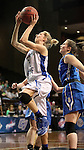SIOUX FALLS MARCH 23:  Nicole Hampton #2 from Lubbock Christian lays the ball up past the defense of Bentley University during their 2016 NCAA Women's DII Elite 8 Basketball Championship semifinal Wednesday night at the Sanford Pentagon in Sioux Falls, S.D. (Photo by Dave Eggen/Inertia)