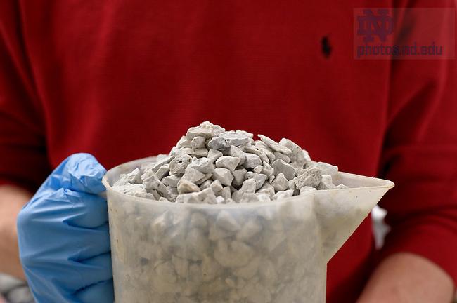 Feb. 21, 2012; Undergraduates mix concrete for a civil engineering course...Photo by Matt Cashore/University of Notre Dame