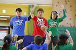 (L-R) Atsuhiro Miura, Kento Kato, Tsuyoshi Kitazawa, MARCH 5, 2015 : Tokyo 2020 Organising Committee holds a promotion event for the Tokyo 2020 Paralympic games at Tokyo International School in Tokyo, Japan. This event took place 2000 days before the Tokyo 2020 Paralympic games. (Photo by Yusuke Nakanishi/AFLO SPORT)