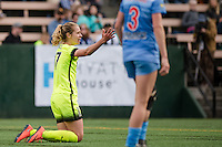 Seattle, WA - Sunday, May 22, 2016: Seattle Reign FC midfielder Beverly Yanez (17) reacts after being fouled during a regular season National Women's Soccer League (NWSL) match at Memorial Stadium. Chicago Red Stars won 2-1.