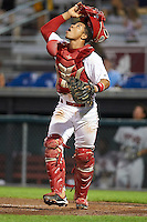 Auburn Doubledays catcher Luis Vilorio (4) during a game against the Tri-City ValleyCats on August 25, 2016 at Falcon Park in Auburn, New York.  Tri-City defeated Auburn 4-3.  (Mike Janes/Four Seam Images)