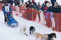 Musher # 55 Hugh Neff at the Restart of the 2009 Iditarod in Willow Alaska