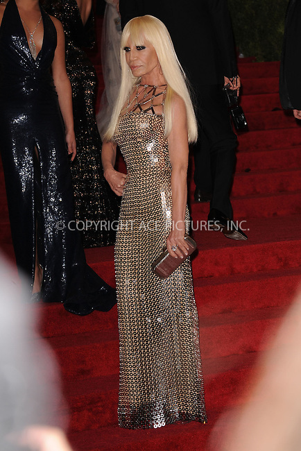 "WWW.ACEPIXS.COM . . . . . .May 7, 2012...New York City.....Donatella Versace attending the ""Schiaparelli and Prada: Impossible Conversations"" Costume Institute Gala at The Metropolitan Museum of Art in New York City on May 7, 2012  in New York City ....Please byline: KRISTIN CALLAHAN - ACEPIXS.COM.. . . . . . ..Ace Pictures, Inc: ..tel: (212) 243 8787 or (646) 769 0430..e-mail: info@acepixs.com..web: http://www.acepixs.com ."