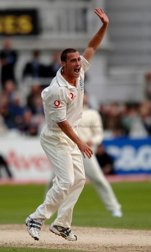 Photo: Glyn Thomas..England v Australia. nPower Test Series. The Ashes..26/08/2005...England's Simon Jones appeals.