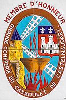 France, Aude (11),  Castelnaudary , Plaque de Membre de la Confrérie du Cassoulet  //France, Aude, Castelnaudary, Plaque Member of the Cassoulet Brotherhood