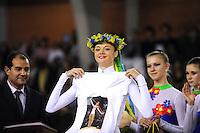 November 9, 2008; Durango, Spain (near Bilbao); (Center) Rhythmic gymnast Anna Bessonova of Ukraine receives special gifts with the Ukrainian group at 2008 Euskalgym International.  ..
