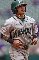 Hawaii Rainbow Warriors outfielder Kaeo Aliviado (2) during the NCAA baseball game against the Nebraska Cornhuskers on March 7, 2015 at the Houston College Classic held at Minute Maid Park in Houston, Texas. Nebraska defeated Hawaii 4-3. (Andrew Woolley/Four Seam Images)