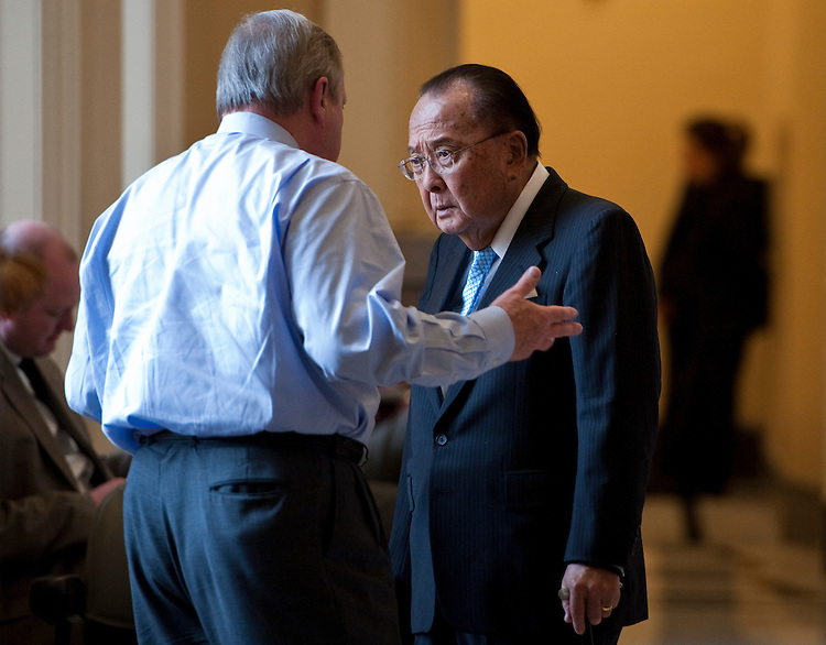 UNITED STATES - DECEMBER 1: Sen. Richard Durbin, D-Ill., left, speaks with Sen. Daniel Inouye, D-Hawaii, outside of the Senate Democrats' luncheon on Wednesday, Dec. 1, 2010. (Photo By Bill Clark/Roll Call)