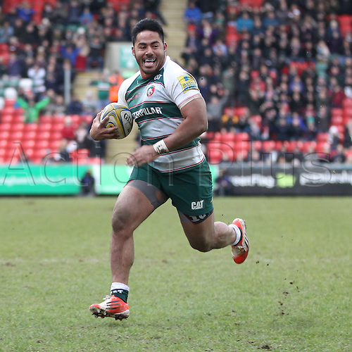 06.03.2016. Welford Road, Leicester, England. Aviva Premiership. Leicester Tigers versus Exeter Chiefs. Tigers centre Manu Tuilagi runs in for a try.