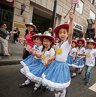 Students from P.S. 192  march in the annual Flag Day Parade on Friday, June 14, 2013, starting at New York City Hall Park. Flag Day, was created by proclamation by President Woodrow Wilson on June 14, 1916 as a holiday honoring America's flag but it was not until 1949 when it became National Flag Day.  The holiday honors the 1777 Flag Resolution where the stars and stripes were officially adopted as the flag of the United States. (© Richard B. Levine)