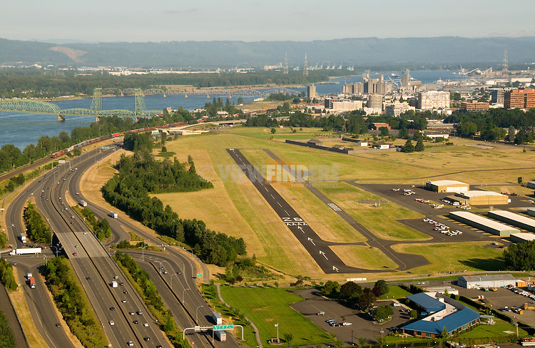 Aerial of Pearson Field Airport with Downtown Vancouver, Washington